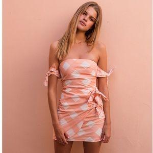 Peach gingham tie dress